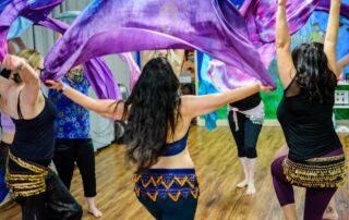 belly dancers with veils in Phoenix belly danceclass