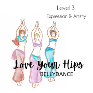 3 Belly Dancers with arms up